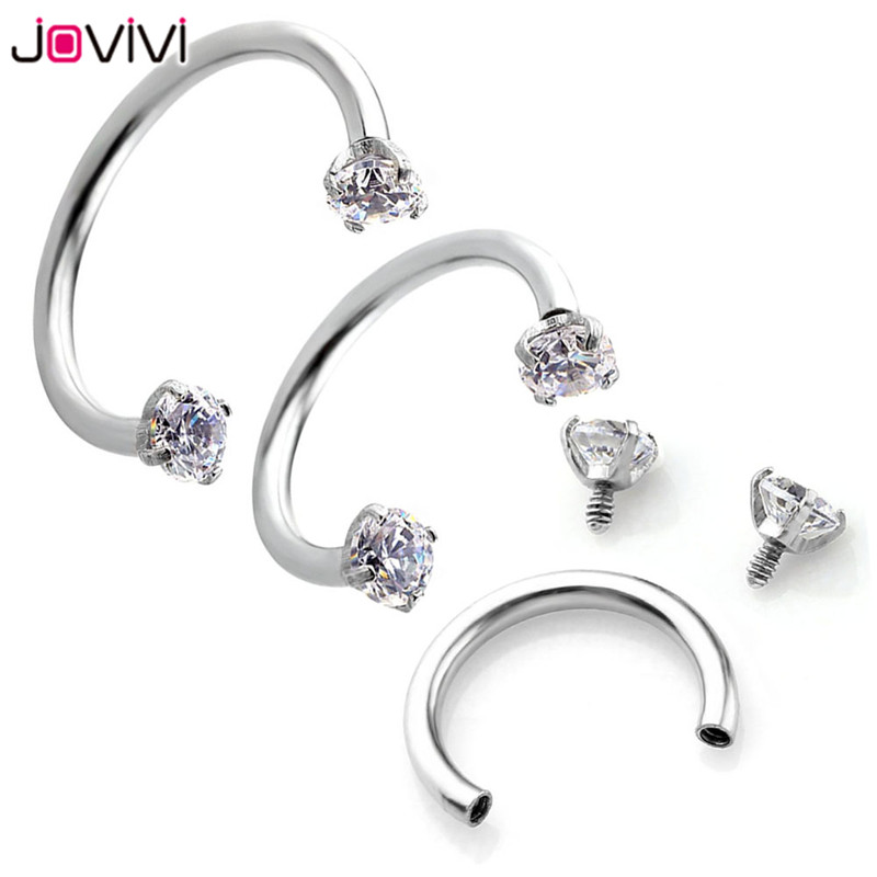 Jovivi 16g Stainless Steel Nose Lip Eyebrow Ear Septum Cartilage Helix Captive Hoop Ring Percing Labret Nariz Aro Nez 8-12mm