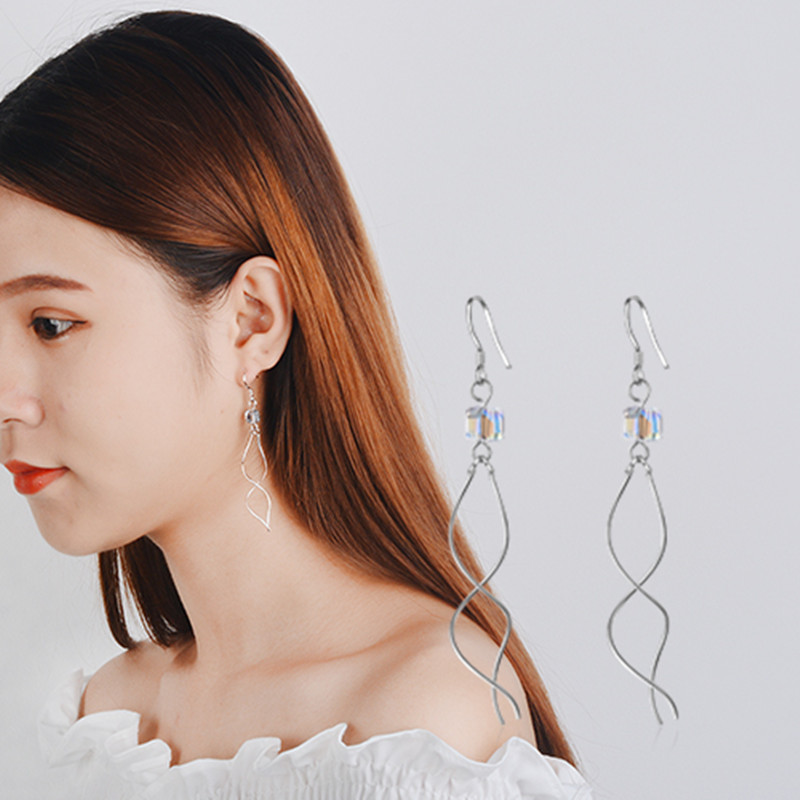 Everoyal Fashion Crystal Square Tassel Earrings For Women Jewelry Charm Silver 925 Lady Accessories Girls Birthday Gift