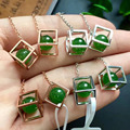 Certificated 100% natural perfect green jade earrings for women Chiristmas present natural 4.5*5mm