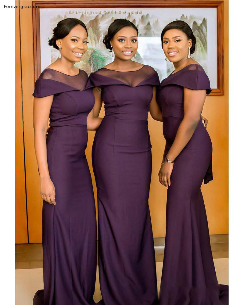 South African Girls Bridesmaid Dresses Purple Color Long Summer Country Garden Formal Wedding Party Guest Maid Of Honor Gowns