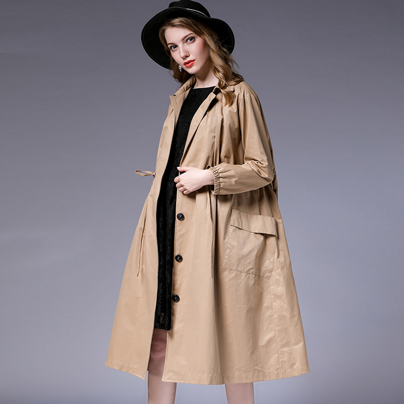 Plus size womens loose fashion   trench   coat temperament Elegant coat oversize long sleeve Collect waist solid autumn coats new