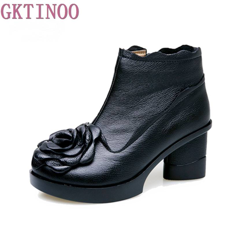 Autumn And winter Fashion Genuine Leather Shoes Womens Boots Casual Women Thick Heels Handmade Woman Ankle Boots