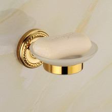 Usherlife New Gold Soap Dish Holder Soap Dishes For Bathrooms Shower  Shampoo Wall Mounted Brass Holder+Glass Dishes Accessories