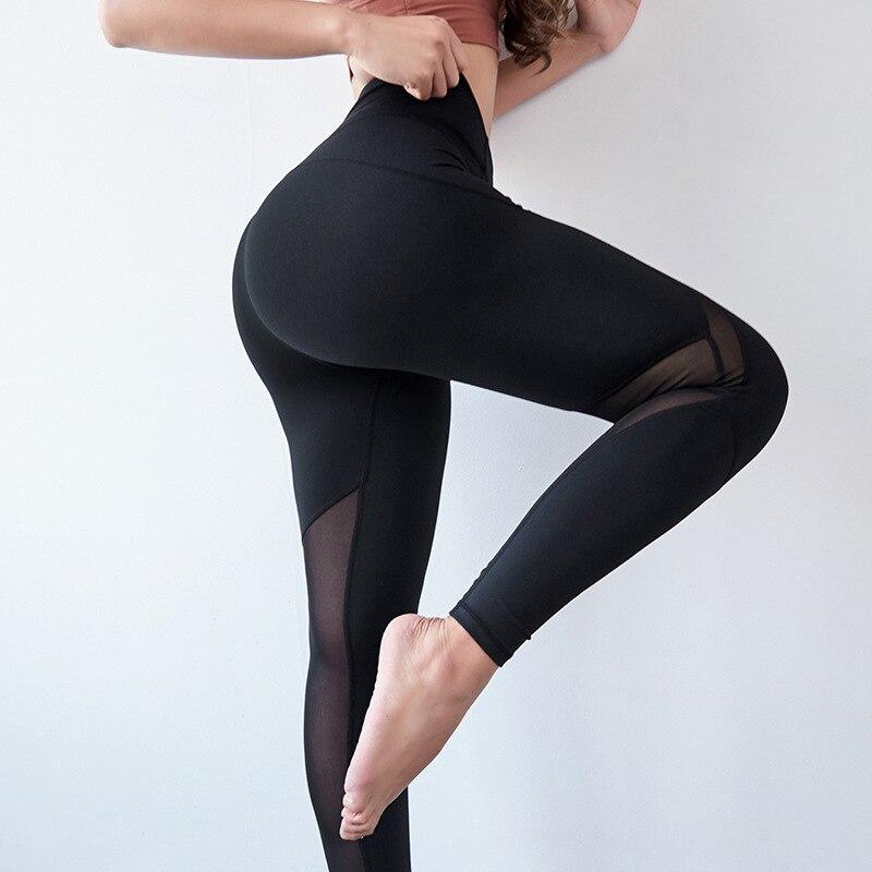 Pantalon de Fitness pêche femme serré Sexy maille couture Sport séchage rapide Slim taille haute Yoga pantalon femme Leggins femmes Leggings