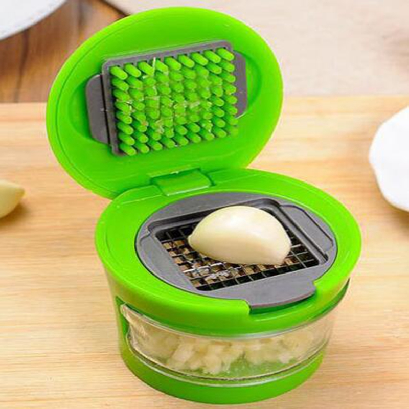 Kitchen Gadgets Accessories 1PCS Garlic Press Sharp Stainless Steel Blades Inbuilt Clear Plastic Tray Cuisine tools in Garlic Presses from Home Garden