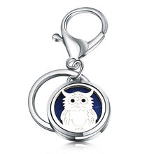 DIY High Quality Owl Perfume Key Chain 361L Stainless Steel Essential Oil Diffuser Perfume Aromatherapy Locket High end Jewelry(China)