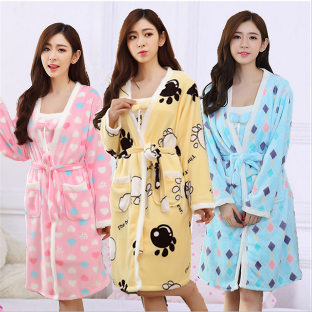 Autumn Winter Pajamas women Coral cashmere Sling Bathrobes Long Sleeve Lingerie Thickening Flannel  Home clothing Two-piece suit