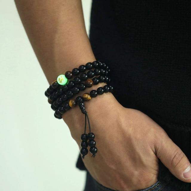 IPARAM דרקון שחור בודהה חרוזים צמידים & צמידי תכשיטים בעבודת יד אתניים זוהר בחושך צמיד לנשים או גברים 2018
