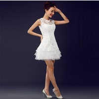 Women Wedding Formal Dress Bride Lace Short Wedding Dresses 2015 Party Gowns Vestido De Noiva Curto
