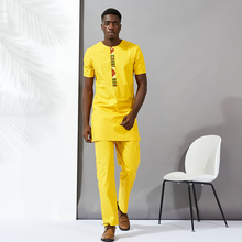 shenbolen african men bazin clothing suits tops shirt pant 2pieces set Stitching wax material cotton mens