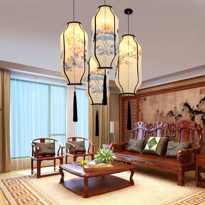 Chinese style cloth lanterns pendant lights creative living room restaurant club linen hand painted pendant lamps ZA