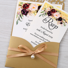 100pcs זהב חדש הגעה אופקי לייזר לחתוך הזמנות לחתונה עם RSVP כרטיס, פרל סרט, CW25001B, להתאמה אישית
