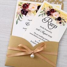 Invitaciones de boda de corte láser Horizontal, novedad, oro de 100 Uds., con tarjeta RSVP, cinta con perlas, CW25001B, personalizable