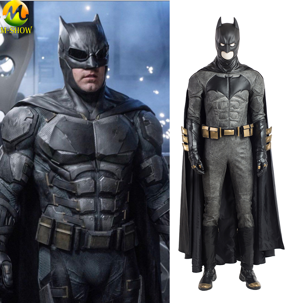 Movie Justice League Batman Cosplay Costume Batman Bruce Wayne Cosplay Costume Leather Full Set For Halloween Custom Made