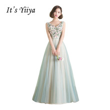 It's Yiiya V-neck Sleeveless Beading Flower Wedding Dress Ball Gown Applique Color Bridal Frock Vestidos De Novia Casamento X247