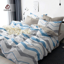 ParkShin Nordic Style Bedding Sets 100% Cotton Duvet Cover Set Gray And Blue Bed Sheet Striped Bed Linen 4pcs Queen King Size