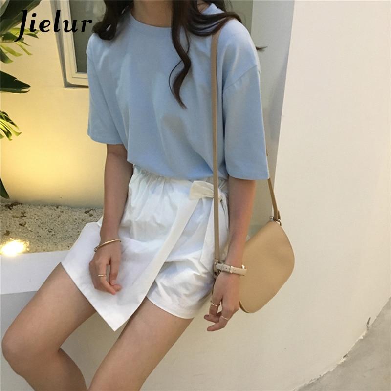Jielur Tee Shirt 15 jednolity kolor podstawowe T koszula kobiety na co dzień O-neck Harajuku lato Top koreański Hipster biały t-shirt S-XL Dropship 4