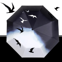 Quality Brand Full Automatic Sunny Rainy Women Men Vivid Bird Oil Painting Pattern Folding Umbrella Parasol Black Coating Gift