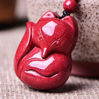 Natural Cinnabar Fox Pendant Necklace Drop Shipping Lucky Amulet Crystal Fox Necklace For Women Men Fine Jewelry