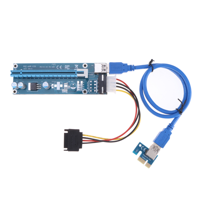 PCIe PCI-E PCI Express Riser Card 1x to 16x USB 3.0 Data Cable SATA to 4Pin IDE Molex Power Supply for BTC Miner Machine 60CM