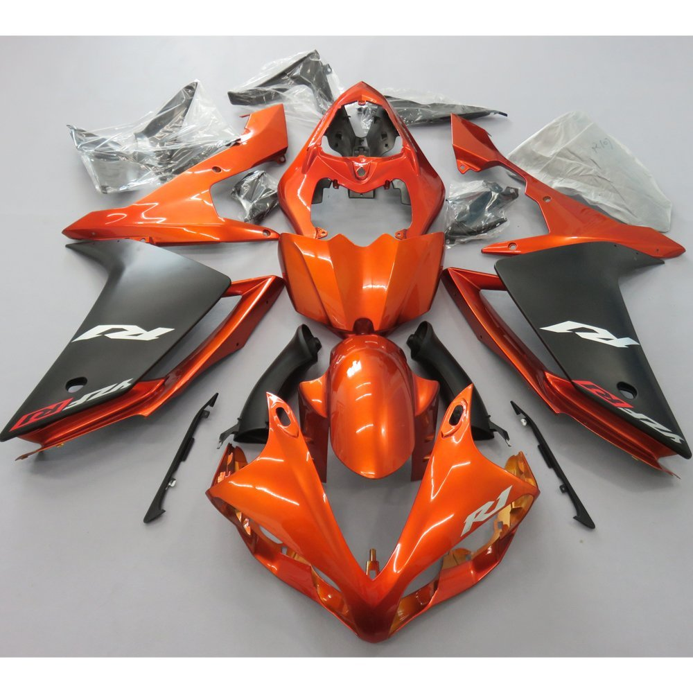 Motorcycle Full Fairing Set for Yamaha R1 YZF YZFR1 2007 2008 YZF-R1 07 08 Injection Molding Fairings Burnt Orange Matte Black injection molding motorcycle parts for yamaha yzf r1 2007 2008 fairings set yzf r1 07 08 all matte silver abs fairing kit qz54