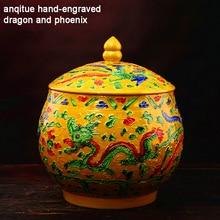 Jingdezhen Antique Enamel Ceramic Tea Jar Tea Caddy Canister Hand-engraved Dragon And Phoenix Tank Jar Food Candy Jar Wedding
