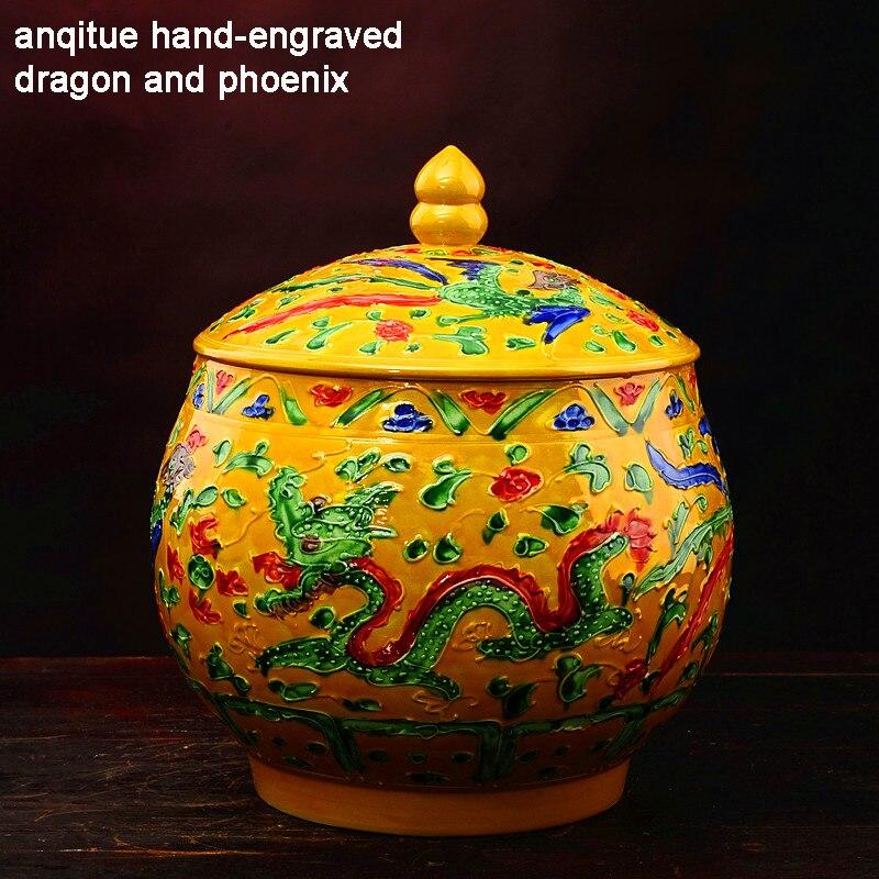 Jingdezhen Antique Enamel Ceramic Tea Jar Tea Caddy Canister Hand engraved Dragon And Phoenix Tank Jar Food Candy Jar Wedding