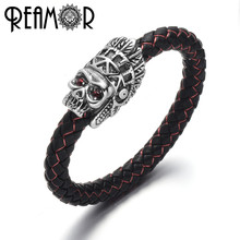 REAMOR Men Braided Leather Bracelet Stainless Steel Indian d44b6346e