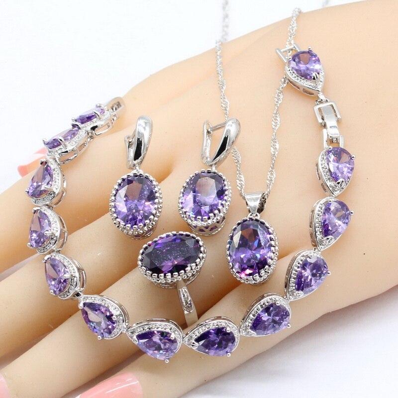 Κλασική Μωβ Κυβικά Ζιρκονία 925 Ασημένια κοσμήματα Σετ Βραχιόλια Σκουλαρίκια Κολιέ Κρεμαστά Δαχτυλίδια Για τις γυναίκες Δωρεάν Συσκευασία Δώρου