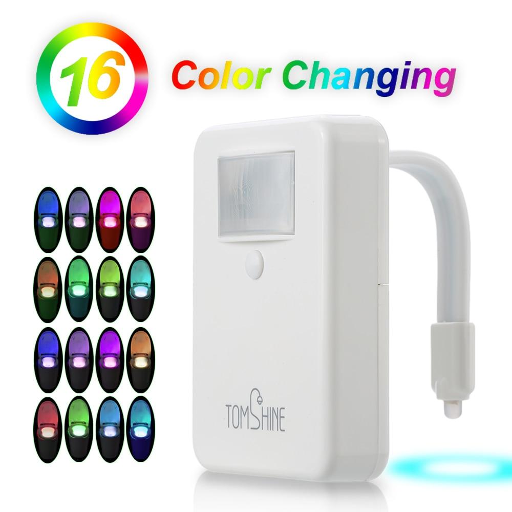 Automatic led energy saving night lamp - 16 Colors Led Toilet Seat Night Lamp 5 Mode Flexible Energy Saving Motion Light Activated Sensor No Aa Battery For Bathroom