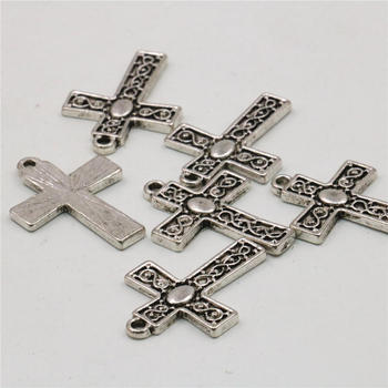 10PCS Accessories Jewelry Making Design Copper Metal Lucky Cross Kaddish DIY Loose Finding Pendant For Necklace Women 22x18mm image