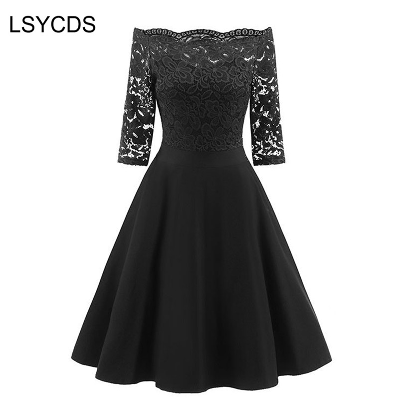 LSYCDS 2019 New Female Dress Sexy Half Sleeve Slash Neck Robe Vintage Retro Casual Party Rockabilly 50s 60s Lace Women Dress