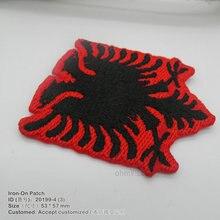 Г. Флаг Албании, 3D железные парки для одежды, ручная вышивка, аппликация, Экологичная вышитая нашивка с логотипом