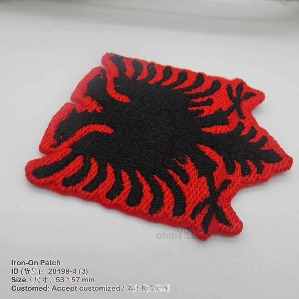 2016 nouveau albanie drapeau 3D fer à repasser Parches pour vêtements à la main broderie appliqué Bordados écologique brodé Logo Patch