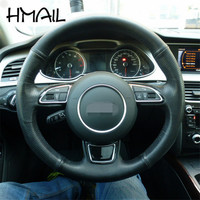 38CM Customized For Audi A1 A3 Leather Material Hand sewing Car Steering wheel cover For Audi
