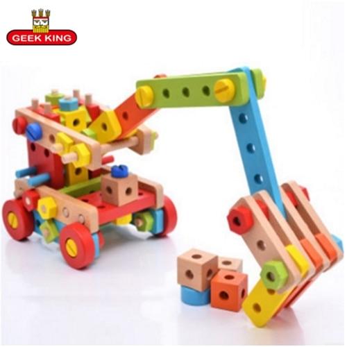 GEEK KING 138 pièces magicaf écrou combinaison de blocs de construction enfant assemblage jouets démontage 2-4 puzzle ceinture bois outils jouet