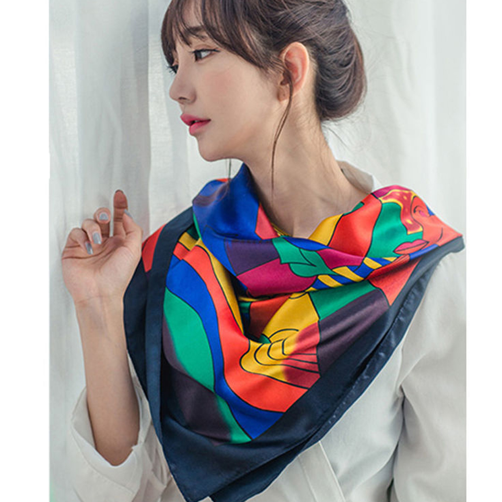 Picasso Oil Painting Scarf Women's Scarf 90cm*90cm Large Square  Head Silk Scarf Headband Shawl Decoration Red Satin Temperament