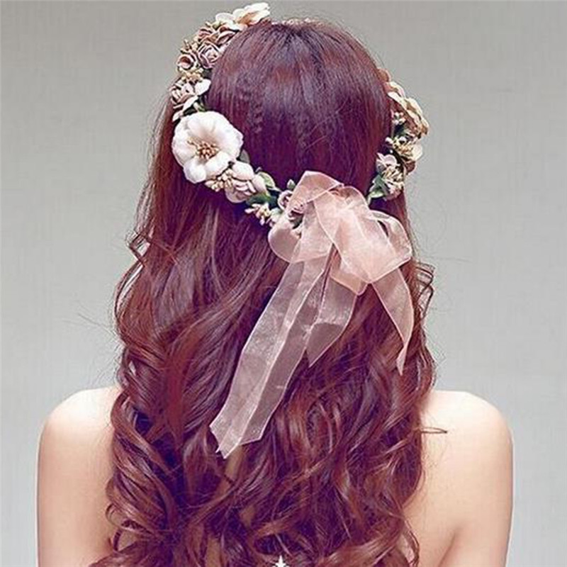 Boho Flower Hairbands Crown Bride Wedding Beach Hair Bands for Women
