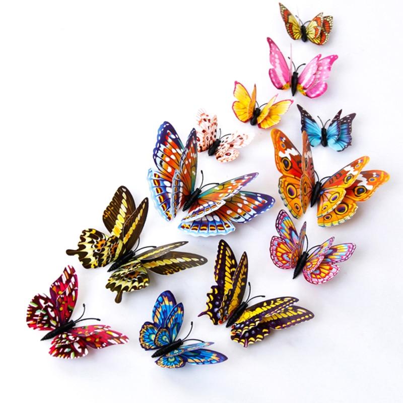% 12pcs/lot 3D PVC Wall Stickers Luminous Butterflies DIY Home Decor Poster Kids Rooms Party Celebration Wall Decoration