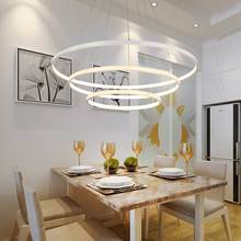 modern led gold pendant light fixtures with remote control kitchen living room loft hanging ring lamp decor home lighting 220v Modern 3 Ring Led Pendant Light Kitchen Living Room Dining Room Hanging Rope Lamp White PC Lampshade Home Lighting Fixtures 220V