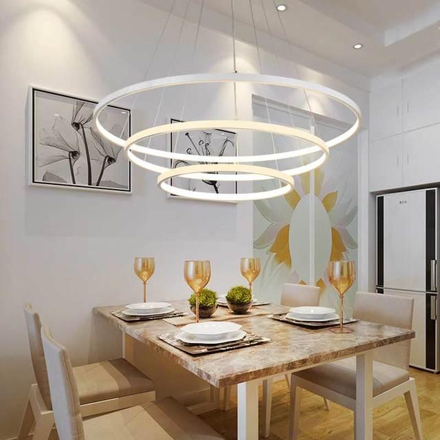 Modern 3 Ring Led Pendant Light Kitchen Living Room Dining Room Hanging  Rope Lamp White PC