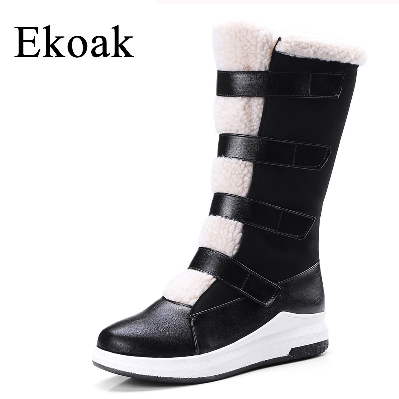 Ekoak New 2017 Winter Boots Fashion Women Boots Warm Plush Mid-Calf Boots Ladies Platform Shoes Woman Rubber Leather Snow Boots