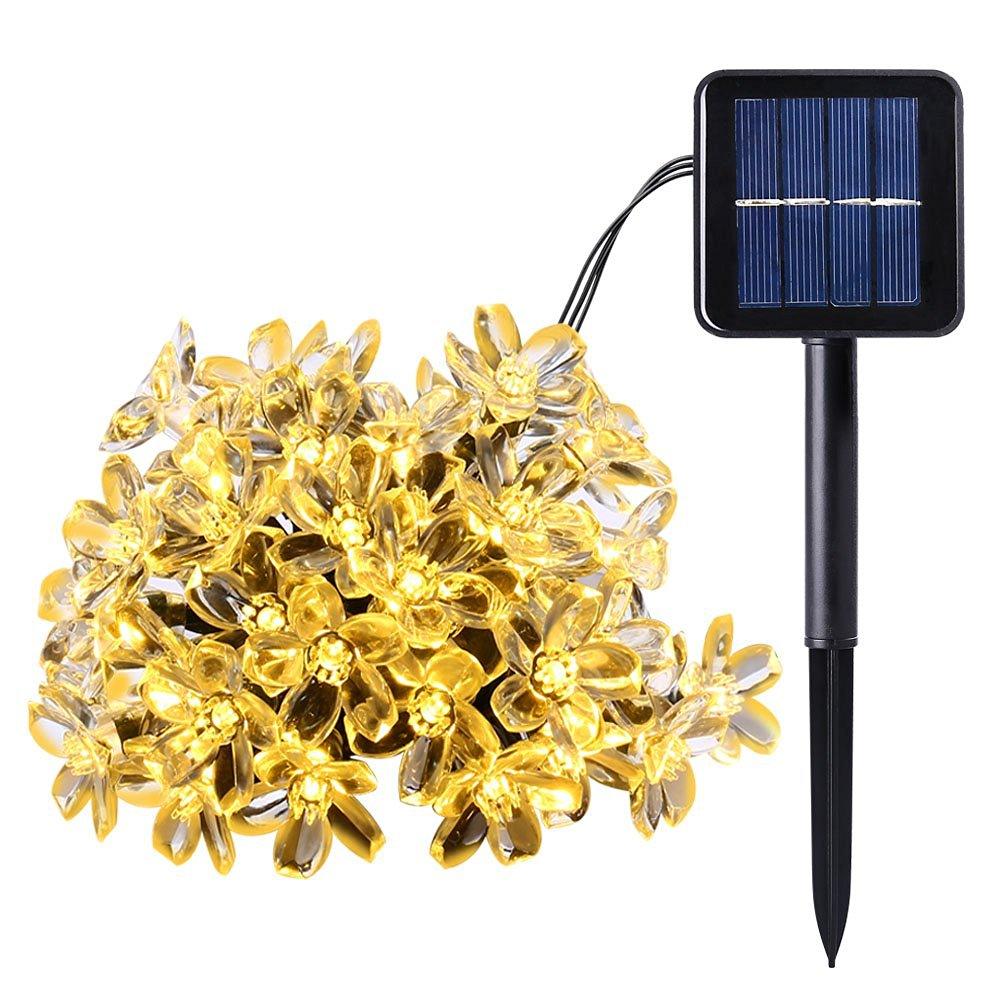 Outdoor Flower Solar String Lights 21ft 50 LED Garden Lights Fairy Blossom Decorative Lighting Christmas Garland Warm White solar fairy string lamps christmas decorative 7m 50leds flower blossom lights waterproof garden christmas outdoor led light