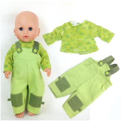 Green Suit 1Set Doll Clothes Wear fit 43cm Baby Born zapf, Children best Birthday Gift(only sell clothes)