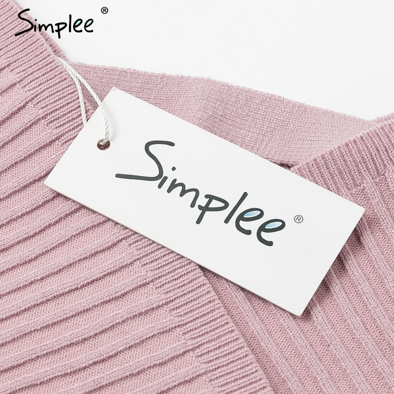 Simplee Sexy v-neck women knitted skirt suits Autumn winter batwing sleeve ladies suit Elegant party female sweater pink dress 14