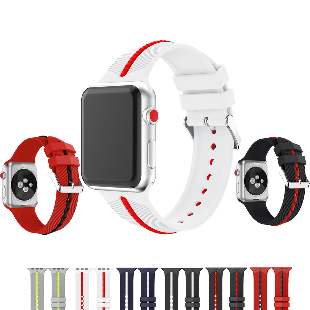 NEW Two-color silicone strap for apple watch band 42mm bracelet wrist watchband for iwatch 3/2/1 rubber watch belt +metal buckle metal buckle belt 3 pcs