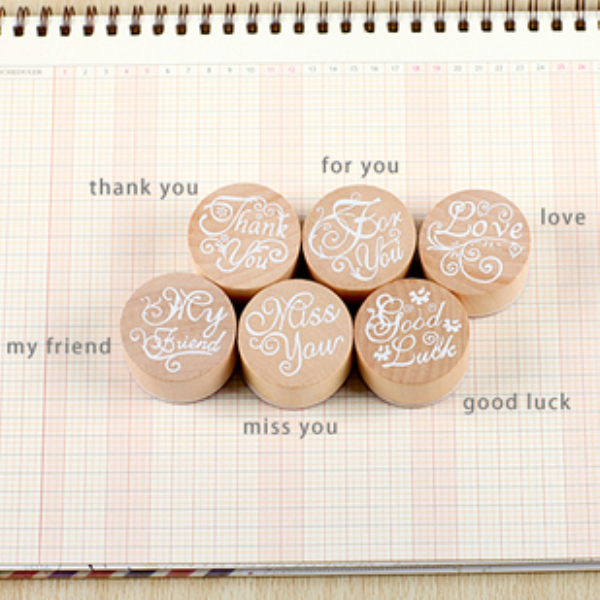 1Pcs DIY Blessing Wooden Rubber Stamps Decorative Photo Album Diary Stamp