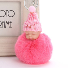 все цены на New Cute pompom keychain Sleeping Baby key chain fluffy fake rabbit fur ball women car bag pompon key ring pom pom holder Gift онлайн