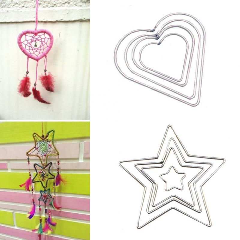 1Pc Metal Hoop Dream Catcher Heart And Start Hoop Ring For DIY Manual Handmade Wicker Crafts Dreamcatcher Tool Accessories #20