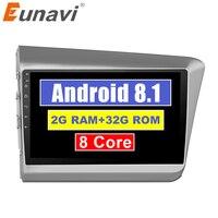 Eunavi 2Din 9 Android 8,1 автомобильный радиоприемник сенсорный экран WiFi Мультимедиа стерео плеер gps головное устройство для Honda Civic 2012 2013 2014 2015